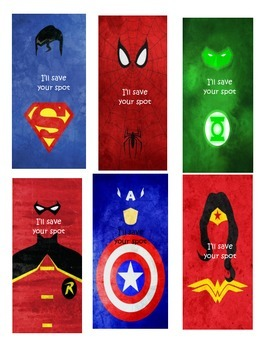 Superhero IPICK poster and bookmarks