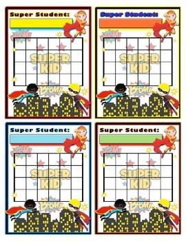 Superhero Incentive Sticker Behavior Chart - Super Hero Theme