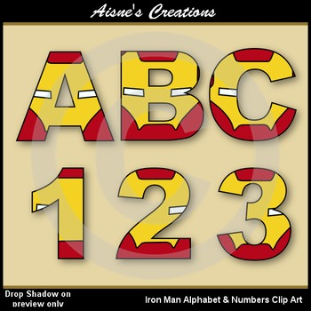 Superhero Iron Man Alphabet & Numbers