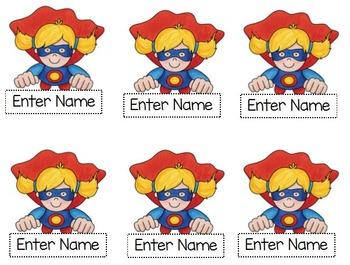 Superhero Job Name Tags