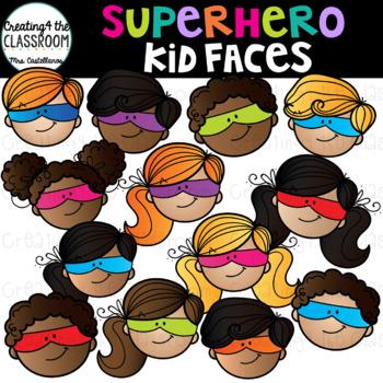 Superhero Kid Faces Clip Art {Superhero Clip Art}
