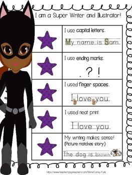 Superhero Kid Writing Rubric Kindergarten writing rubric Super hero theme