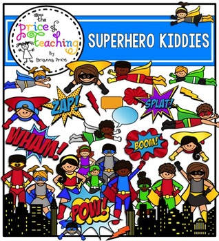 Superhero Kiddies Clipart Set