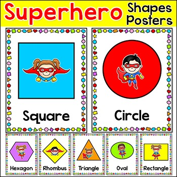 Shapes Posters - Superhero Theme Classroom Decor