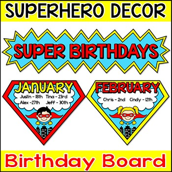 Superhero Theme Birthday Board - Editable Superhero Classroom Theme Decor