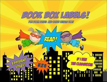 Superhero Kids Book Box Labels 3x4