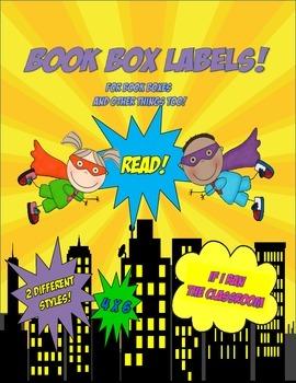 Superhero Kids Book Box Labels 4 x 6