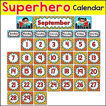 Superhero Calendar - Month & Days of the Week Headers, Number Squares, Heroes