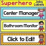 Classroom Jobs Labels Superhero Theme