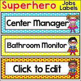 Classroom Jobs Labels Superhero Theme