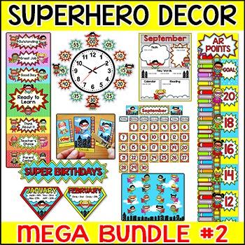 Superhero Theme Classroom Decor Bundle Part 2