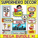 Superhero Theme Classroom Decor Bundle 1 - Name Tags, Name Plates, Posters etc