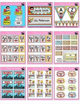 Superhero Theme Classroom Decor Bundle 1 - Name Tags, Name Plates, Posters etc