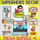 Superhero Classroom Theme Decor Bundle 1: Name Tags, Name Plates, Classroom Jobs