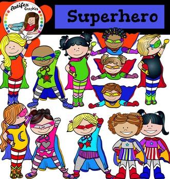 Superhero Clip Art -Color and B&W-