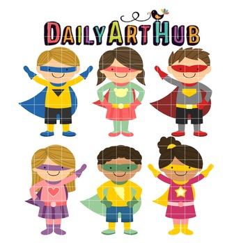 Superhero Kids Clip Art - Great for Art Class Projects!