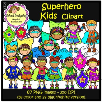 Superhero Kids  Clip Art (School Designhcf)