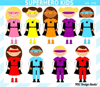 Superhero Kids Clip Art for Personal and Commercial Use