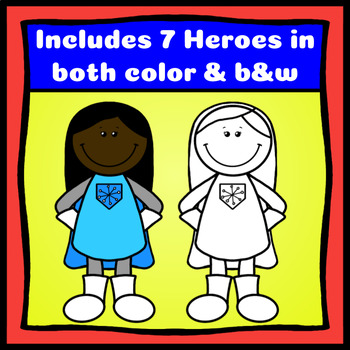 Superhero Kids Clipart (14 Color & B&W Heroes with Free Activities)