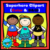 Superhero Kids Clipart (14 Color & B&W Heroes with Free Ac