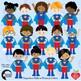 Superhero Kids Clipart, Multicultural Kids and Bursts, MEGA BUNDLE AMB-2308