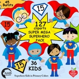Superhero Kids Clipart, Multicultural Kids and Bursts, MEG
