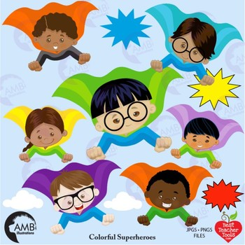 Superhero Kids Clipart Multicultural Kids And Bursts