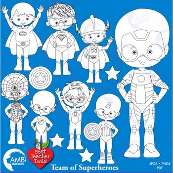 Superhero Kids Clipart Stamps, Outlines, AMB-2325