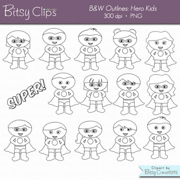 Superhero Kids Digital Art Set Clipart WITH Black and White Outlines