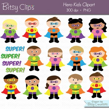 Superhero Kids Digital Art Set Clipart WITH Black and Whit