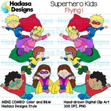 Superhero Kids Flying Clip Art - Mini Combo Pack 1