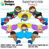 Superhero Kids Flying Clip Art - Mini Combo Pack 2