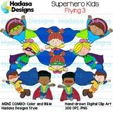 Superhero Kids Flying Clip Art - Mini Combo Pack 3