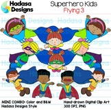 Superhero Kids Flying Clip Art - Mini Combo Pack 3