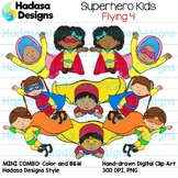 Superhero Kids Flying Clip Art - Mini Combo Pack 4