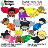 Superhero Kids Flying Clip Art - Mini Combo Pack 5