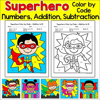 color by number activities superhero theme math morning work