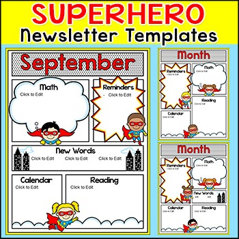 superhero theme newsletter template editable for any language - Free Editable Newsletter Templates