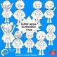 Superhero Kids Stamps Clipart, Multicultural Kids, MEGA BUNDLE AMB-2313