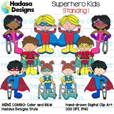 Superhero Kids Standing Clip Art - Mini Combo Pack 1