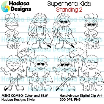 Superhero Kids Standing Clip Art - Mini Combo Pack 2