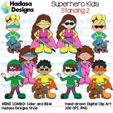 Superhero Kids Standing Clip Art - Mini Combo Pack 2