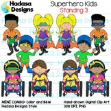Superhero Kids Standing Clip Art - Mini Combo Pack 3
