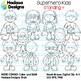Superhero Kids Standing Clip Art - Mini Combo Pack 4