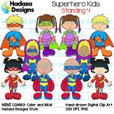 Superhero Kids Standing Clip Art - Mini Combo Pack 4