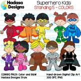 Superhero Kids Standing Clip Art - Combo Pack 5