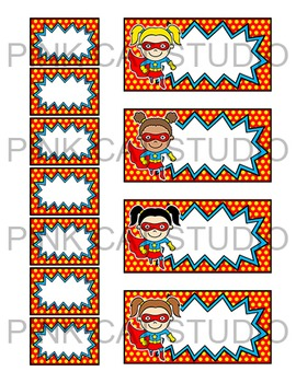 Superhero Theme Teacher Toolbox Supply Labels - Classroom Decor