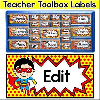 Superhero Theme Teacher Toolbox Supply Labels - Classroom Decor