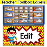 Superhero Theme Teacher Toolbox Labels - Editable Classroom Decor