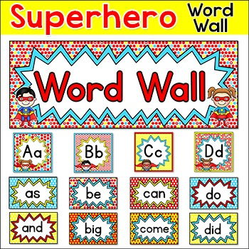 Sight words word wall editable superhero theme classroom for Free printable word wall templates